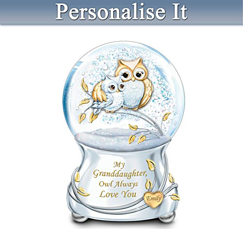 Owl Always Love You Glitter Globe With Granddaughter's Name