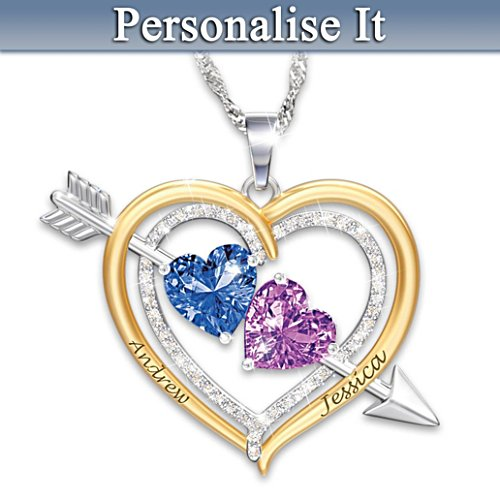 """Love Struck"" Name-Engraved Couples Birthstone Necklace"