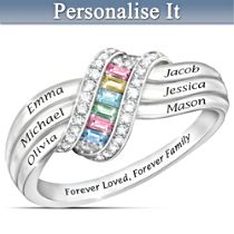 """Forever Family"" Engraved Personalised Birthstone Ring"