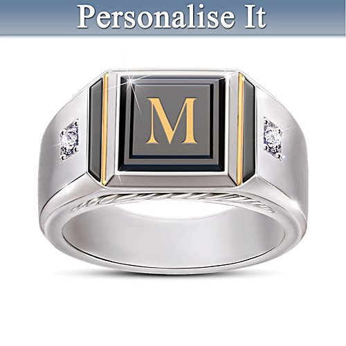"""Man Of Distinction"" Diamond And Black Onyx Initial Ring"