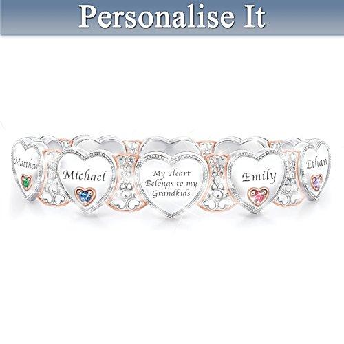 """Grandma's Heart & Joy"" Bracelet With Birthstones And Names"