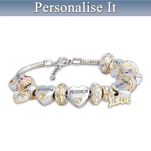 'Forever In A Mother's Heart' Personalised Birthstone Bracelet