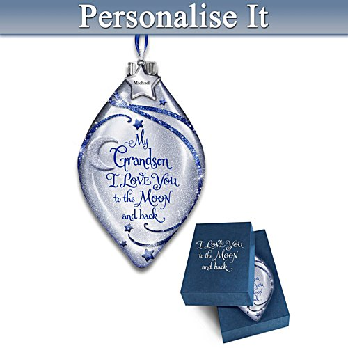 Illuminated Glass Ornament Personalised For Grandson