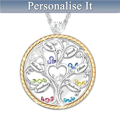 """Our Story"" Personalised Family Tree Birthstone Necklace"
