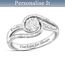"""Our Love For Always"" Personalised Diamond Ring With 2 Names"