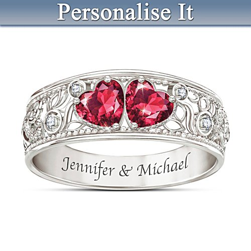 Diamond And Simulated Ruby Personalised Ring With 2 Names