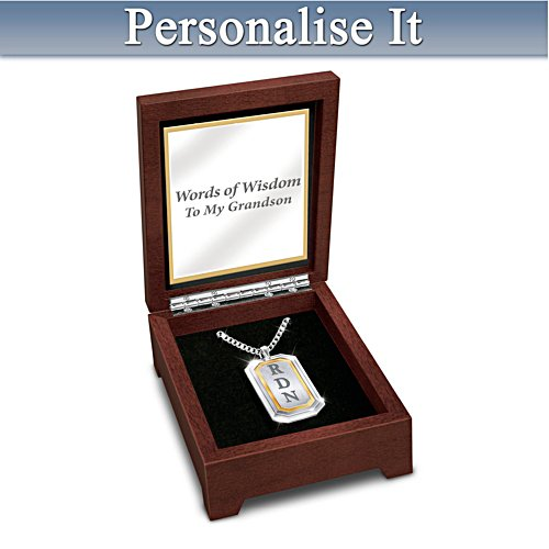 """Words Of Wisdom"" Dog Tag Necklace With Grandson's Initials"