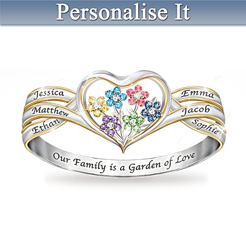 Our Family Is A Garden Of Love Personalised Birthstone Ring
