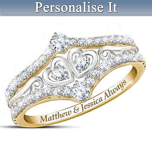 'Always Us' White Topaz Personalised Ring