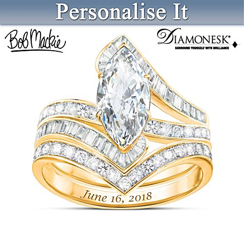 Bob Mackie Personalised 18K Gold-Plated Bridal Ring Set