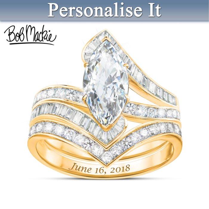 Bob Mackie Personalised 18k Gold Plated Bridal Ring Set