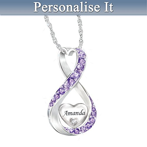 Granddaughter Name-Engraved Birthstone And Diamond Necklace