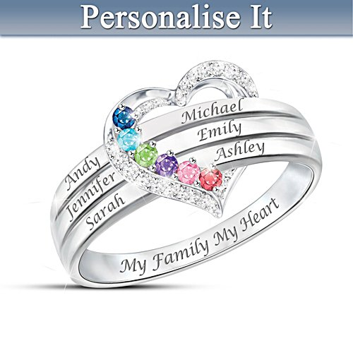 """My Family, My Heart"" Name-Engraved Birthstone Ring"