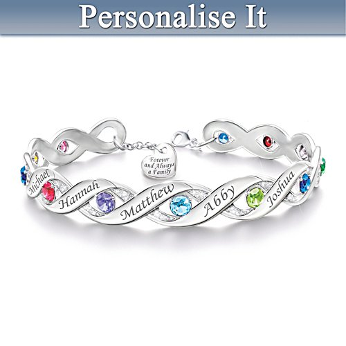 Personalised Bracelet With Up To 12 Birthstones And Names