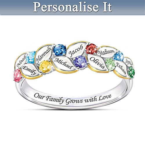 """Our Family Of Joy"" Women's Name-Engraved Birthstone Ring"