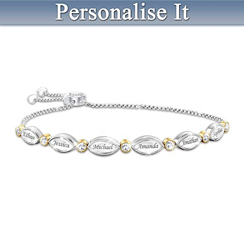 """My Beloved Family"" White Topaz Bracelet With Up To 6 Names"