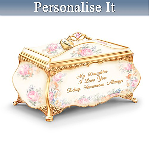 Daughter Porcelain Music Box With Name-Engraved Charm