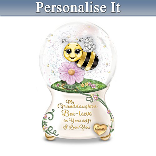 Bee-Themed Musical Glitter Globe With Granddaughter's Name