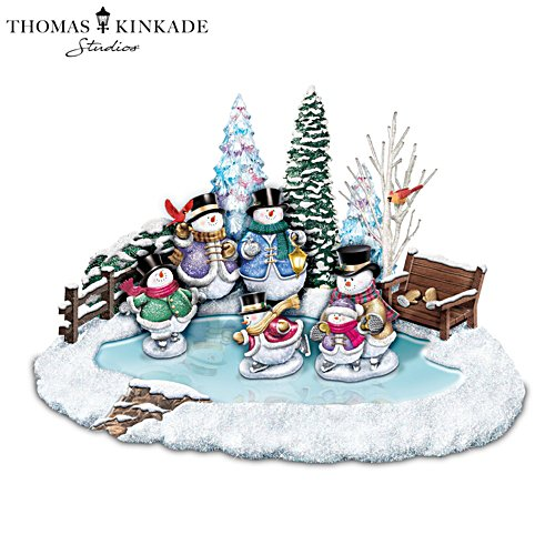 Thomas Kinkade Winter Wonderland' Snowman Skating Pond