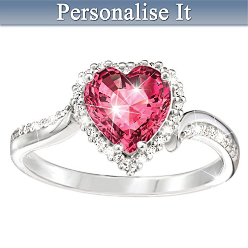 """""""The Heart Of You"""" Personalised Crystal Birthstone Ring"""