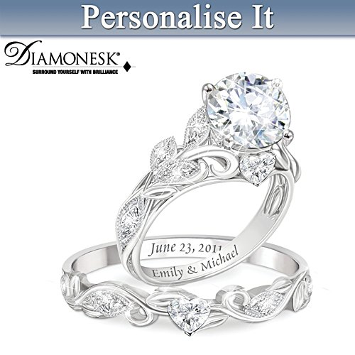 """""""Our Love Blooms Forever"""" Personalised Bridal Ring Set"""