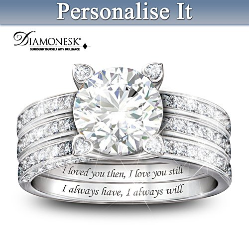 """Always My Love"" Personalised Diamonesk Jacket Ring Set"