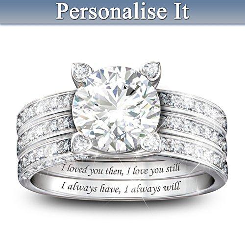 """""""Always My Love"""" Personalised Diamonesk Jacket Ring Set"""