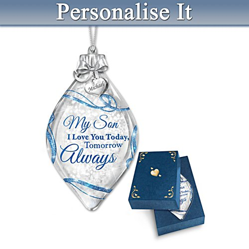 Illuminated Glass Ornament Personalised For Your Son