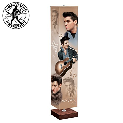 Elvis Presley Tribute Lamp With Art On 4-Sided Fabric Shade