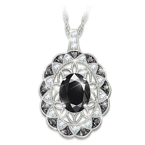 'Italian Lace' Black Spinel And Diamond Pendant Necklace