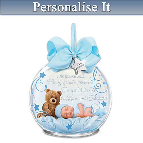 'A Baby To Treasure' Boy Personalised Illuminated Ornament