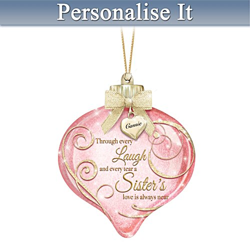 Personalised Hand-Blown Glass Ornament For Sisters Lights Up