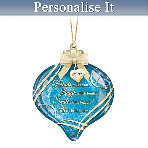 Illuminated Ornament With Personalised Charm For Friends