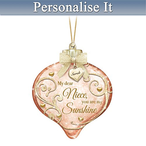 Illuminated Hand-Blown Glass Ornament Personalised For Niece
