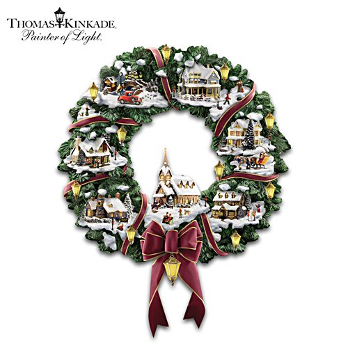 Thomas Kinkade Illuminated Christmas Wreath