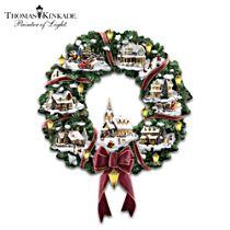 Thomas Kinkade Illuminated Christmas Village Wreath