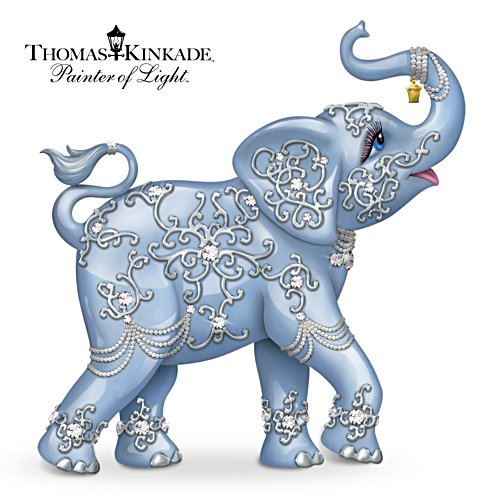 Thomas Kinkade Elephant Figurine With Swarovski Crystal