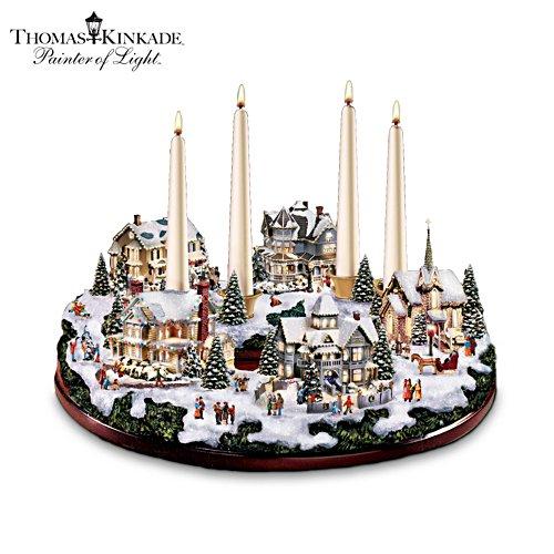 Thomas Kinkade Christmas Table Décor with Illumination and Sparkle