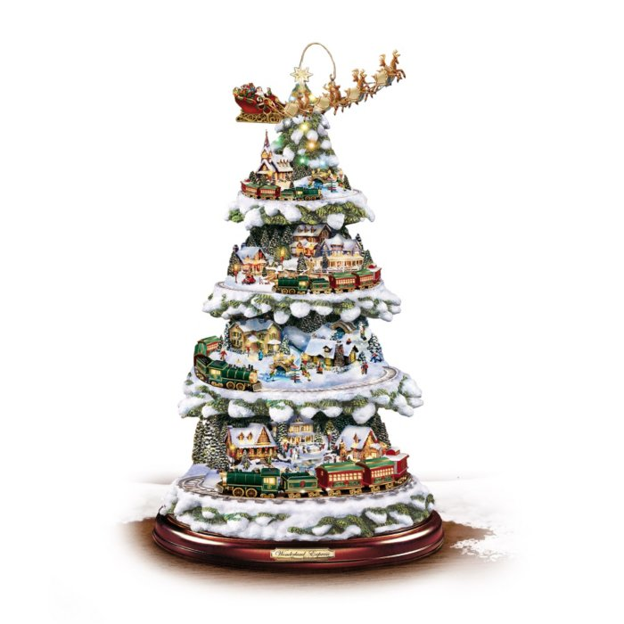 Christmas Tree With Lights.Thomas Kinkade Tree With Lights Moving Train Music