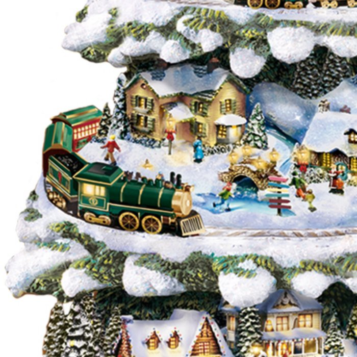 Christmas Tree Train.Thomas Kinkade Tree With Lights Moving Train Music