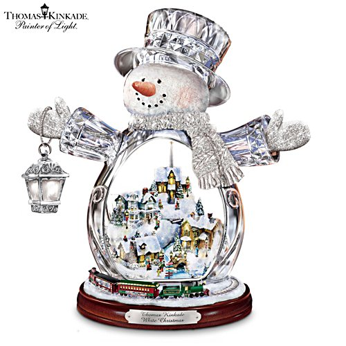 Thomas Kinkade Snowman With Village, Moving Train