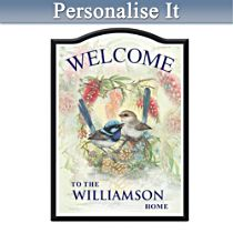 Fairy Wren Personalised Welcome Sign