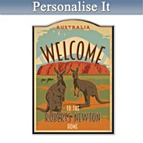 Australian Home Personalised Welcome Sign