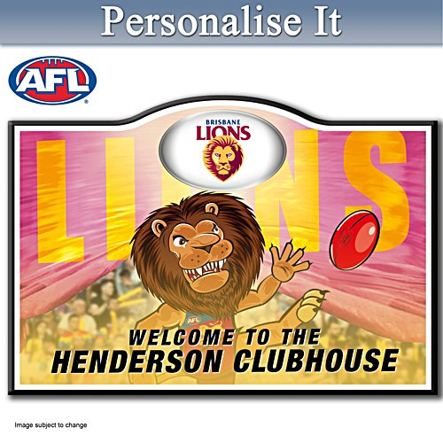 Official AFL Brisbane Lions Welcome Sign Personalised With Name