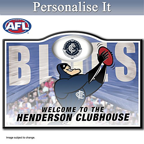 Official AFL Carlton Football Club Welcome Sign Personalised With Name