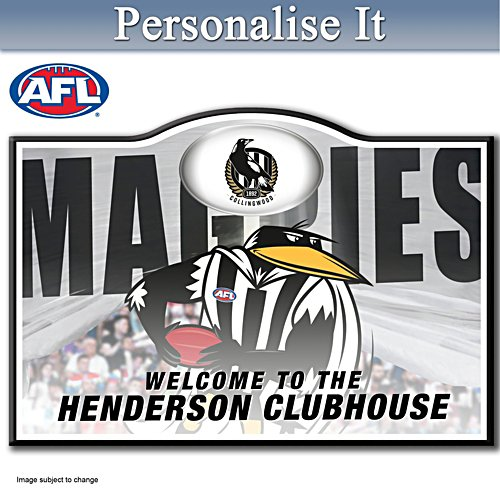 Official AFL Collingwood Football Club Welcome Sign Personalised With Name