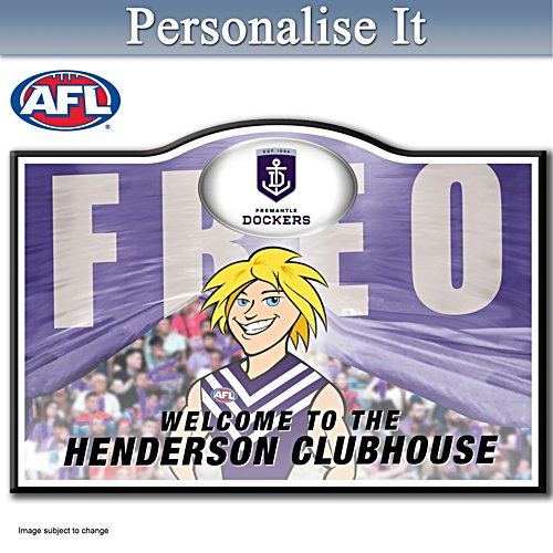 Official AFL Fremantle Football Club Welcome Sign Personalised With Name