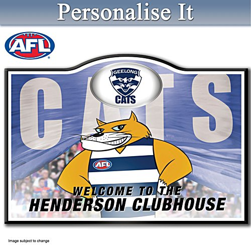Official AFL Geelong Football Club Welcome Sign Personalised With Name