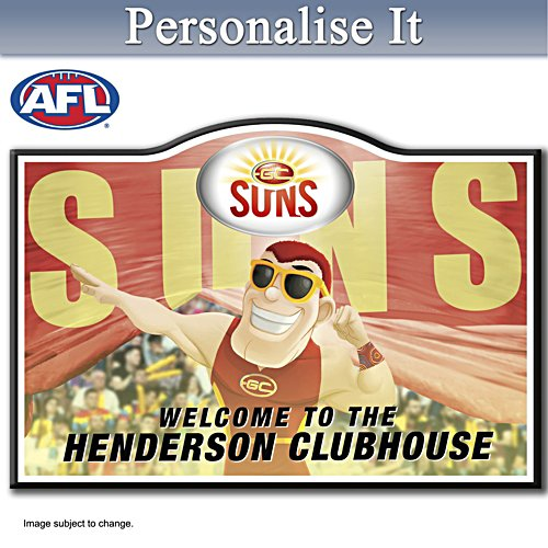 Official AFL Gold Coast Football Club Welcome Sign Personalised With Name