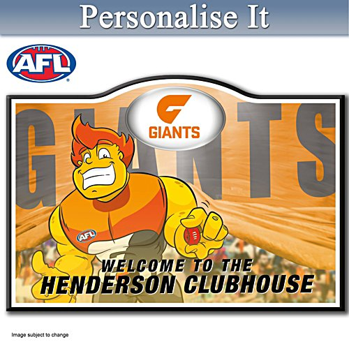 Official AFL Greater Western Sydney Giants Welcome Sign Personalised With Name
